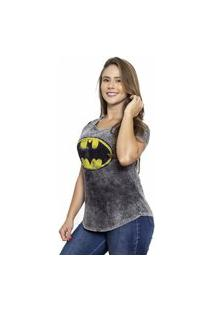 Camiseta Sideway Batman Logo - Preta/Cinza