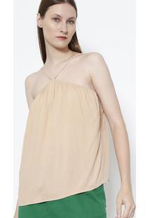 Blusa Com Recorte Vazado- Bege- Colccicolcci