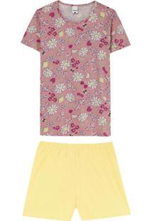 Pijama Rosa Jardim Em Algodão Plus