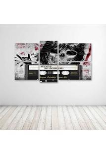 Quadro Decorativo - Rockcast Skull - Composto De 5 Quadros