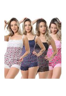 Kit Baby Doll Isa Lingerie Liganete Renda 4 Peças Estampada