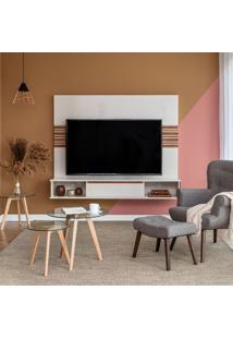 Rack Com Painel Para Tv Até 65 Polegadas Angra I Off White E Freijo 180 Cm