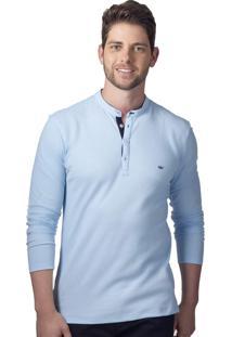 Camisa Gola Padre Alfaiataria Burguesia Azul Claro Stil Slim Fit