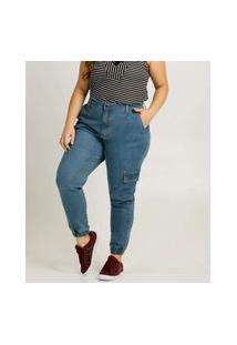 Calça Plus Size Feminina Sarja Jogger