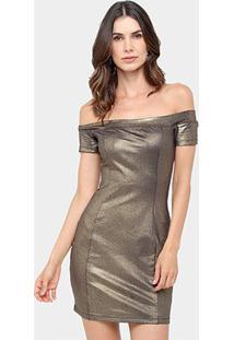 Vestido Colcci Tubinho Curto Ombro A Ombro Metalizado - Feminino-Dourado