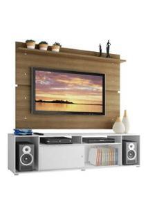 Rack Madesa Cancun E Painel Para Tv Até 65 Polegadas Branco/Rustic