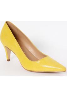 Scarpin Liso Em Couro Com Recorte- Amarelo- Salto: 7Luiza Barcelos