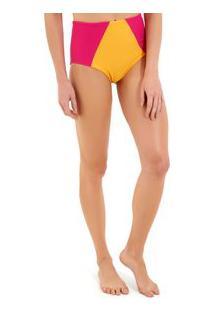 Calcinha Rosa Chá Audrey Canelado Bicolor Beachwear Amarelo Rosa Feminina Calcinha Audrey Bicolor-Amarelo/Rosa-P