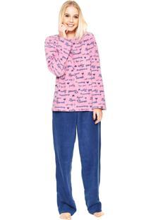 Pijama Any Any Soft Lettering Rosa/Azul