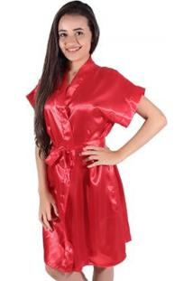 Robe Linha Noite De Cetim - Feminino-Vermelho