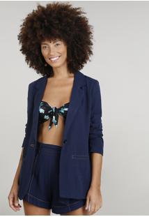 Blazer Feminino Dress To Linho Azul Marinho