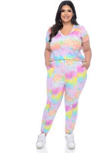 Conjunto Plus Size Join Curves Tie Dye Style Lilás Monalisa