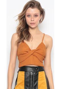 Blusa Cropped Texturizada Com Torã§Ã£O - Amarela - Chochocoleite