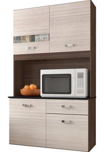 Cozinha Compacta Suspensa 4 Portas 1 Gaveta Lili - Poquema - Capuccino / Amendoa