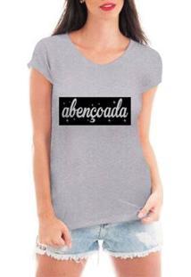 Camiseta Blusa Criativa Urbana Abençoada Frase Religiosas Feminina - Feminino-Cinza