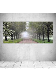 Quadro Decorativo - Alabama The Beautiful Enter This Wild Wood Way - Composto De 5 Quadros
