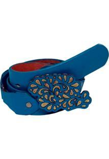 Cinto Teodoras Couro Azul Turquesa Multicolorido