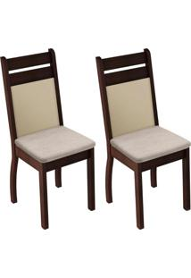 Kit 2 Cadeiras Tabaco Pérola Madesa4237