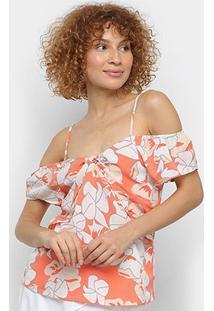 Blusa Allexia Open Shoulder Floral Feminina - Feminino-Laranja