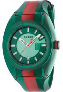 Relógio Gucci Masculino Borracha Verde E Vermelho - Ya137113