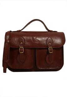 Bolsa Line Store Leather Satchel Pockets Pequena Couro Marrom Avermelhado.