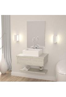 Conjunto Para Banheiro Gabinete Com Cuba Q35 E Prateleira 605W Metrópole Compace Snow