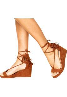 Sandália Dafiti Shoes Anabela Franja Caramelo