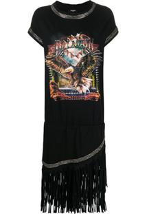 Balmain Vestido Com Estampa De Águia - Preto