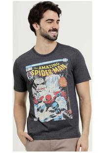Camiseta Masculina Estampa Homem Aranha Manga Curta Marvel