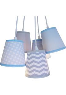 Lustre Pendente Baby Crie Casa Cinza, Branco E Azul Bebê