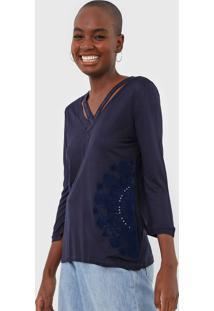 Blusa Desigual Lorren Azul-Marinho - Kanui