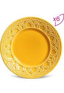Jogo De Pratos Para Sobremesa Cestino - Amarelo - 6Pporto Brasil