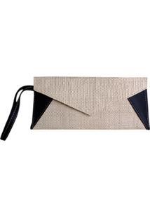 Clutch Bolsa Carteira De Mão Artestore Envelope Palha Natural Bege