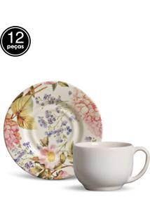 Conjunto 12Pçs Xícaras De Chá Porto Brasil Mônaco Hortênsia Branco
