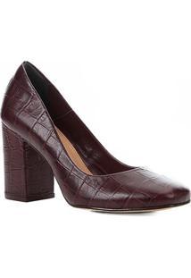 Scarpin Couro Shoestock Salto Alto Croco - Feminino-Vinho