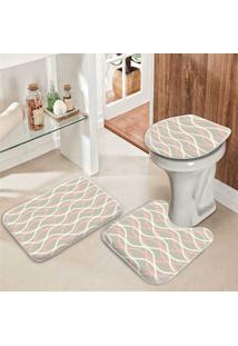 Jogo Tapetes Para Banheiro Ondas Clean