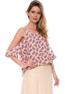 Camisetas Bisô Crepe Pena Feminina - Feminino-Rosê