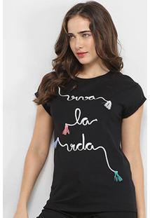 Camisetas Lez Lez Viva La Vida Bordada Feminina - Feminino