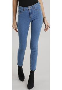 Calça Jeans Feminina Cigarrete Azul Médio