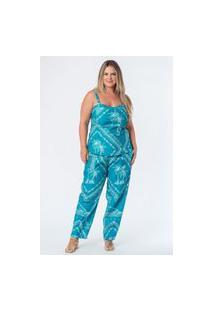 Regata Sarja Estampado Bandana Plus Size Azul Turquesa