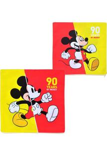 "Capa Para Almofada Mickeyâ® ""90""- Vermelha & Amarela-Mabruk"