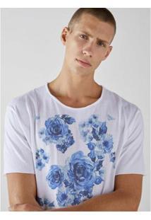 Camiseta Estonada Corte À Fio Joss Blue Flowers Masculina - Masculino-Branco