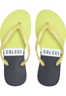 Chinelo Colcci Logo Bicolor Amarelo/Azul-Marinho