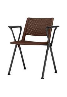 Cadeira Up Com Bracos Assento Marrom Base Fixa Preta - 54333 Marrom
