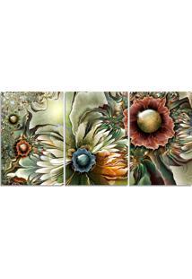 Quadro Decorativo Para Sala Flor Abstrato Aquarela - Multicolorido - Dafiti
