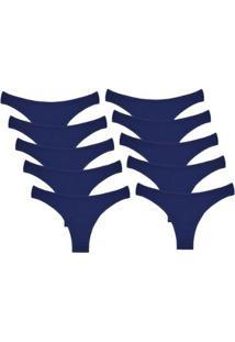 Kit Com 10 Calcinhas Conforto De Algodão Modelo Tanga - Feminino-Azul