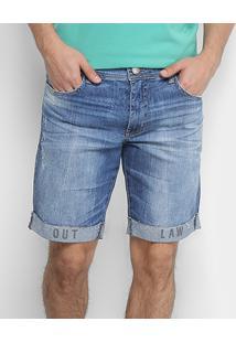 Bermuda Jeans Colcci Davi Com Dobra Bordada Masculina - Masculino