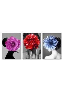 Quadro 60X120Cm Canvas Kaira Mulher Com Flores