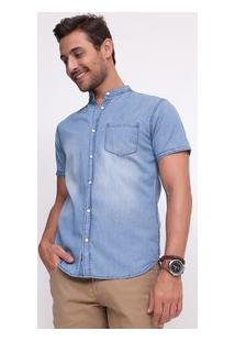 Camisa Slim Com Bolso Em Jeans