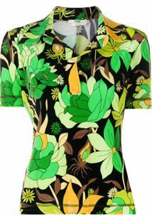 Fendi Camisa Polo Com Estampa Tropical - Preto